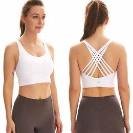 Women Sports Bra Shirts Yoga Gym Vest Push Up Fitness Tops Sexy Underwear Lady Tops Shakeproof Adjustable Strap Bra L-095 on Sale