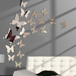 Discount butterfly mirror wall art Mirror Wall Sticker 3D Butterflies Mirror Wall Art Party Wedding Home Decors 18 Pcs set
