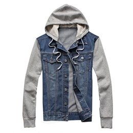 Wholesale mens denim hoodie resale online - New Denim Jacket Men Hooded Sportswear Outdoors Casual Fashion Jeans Jackets Hoodies Cowboy Mens Jacket and Coat Plus Size XL