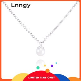 lily pearl Canada - Lnngy Luxury 925 Sterling Silver Necklace Pendants Natural Fresh Water Pearl 7-8mm Round Pearl Women Engagement Pendants Gift