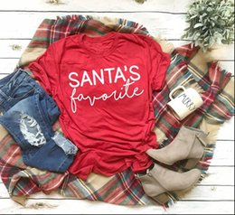 funny christmas tee shirts UK - SANTAS favorite Women Tops T shirt funny slogan fashion Hipster Christmas party style tumblr casual red tees J957