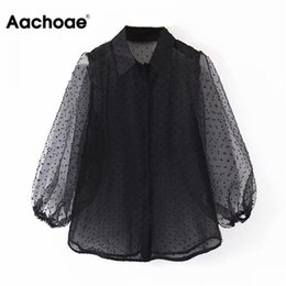 Wholesale see through collared neck shirt resale online - Aachoae Dot Embroidery Women Organza Blouse Lantren Sleeve Black See Through Chic Top Casual Turn Down Collar Shirt Blusas