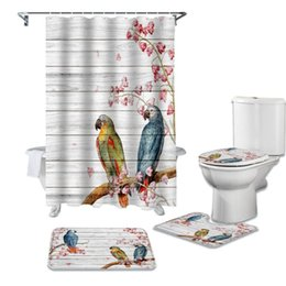 home decor board UK - Parrot Flowers On Wooden Board Shower Curtain Set For Bathroom Bath Mat Rug Carpet Toilet Lid Cover Bathtub Home Decor Gift Curtains
