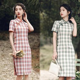 girl chinese cheongsam dress UK - Chinese Cheongsam Qipao Women Dress Modern 2021 Slim Cotton Plaid Improved Cheongsams Vintage Dresses For Girls Wedding Party Ethnic Clothin