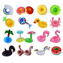 Inflatable Flamingo Drinks Cup Holder Pool Floats Bar Coasters Floatation Devices Children Bath Toy small size U can choose on Sale