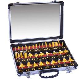 35 unids / set 1 / 4in Alojamiento duro Mango de aleación de madera Molino de bits Molino de grabado Recorte de carpintería Cutter Cutter Trimmer Adaptador Set de taladro 333 R2 en venta