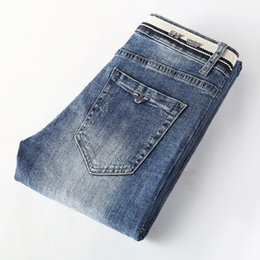 Cotton Autumn Winter Men's Slim Elastic Italy Eagle Brand Fashion BusinessTrousers Classic Style Jeans Denim Male Pants