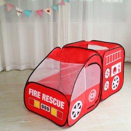 Fire Truck Kids Play Tent Playhouse Indoor Открытый всплывающая игра Притворись автомобиль Детские игрушки США на Распродаже