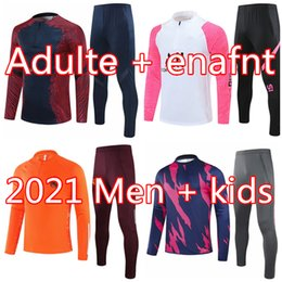 Wholesale tracksuits resale online - 20 Men football tracksuit Real madrid soccer training suit Kids MBAPPE survetement foot chandal jogging