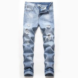 Wholesale style blue jeans design man for sale - Group buy Ripped Jeans Patchwork Skinny Jean Light Blue Holes Stretch Denim Pants Patch Design Trousers Hip Hop Men Style