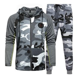 Discount camo sweatpants Men's Tracksuits Camo Hoodie Pants Sets Men Casual Sweatshirt Joggers Sweatpants Male Zipper Jacket Autumn Winter Sportswear Suit