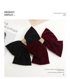 fashion Plush velvet big bow headdress hair clip female net red top on Sale
