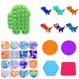 Wholesale finger toy Pop It Push Bubble Board Game Sensory simple dimple Stress Reliever puzzle silicone toys Rainbow Tie-dye color H32RH11