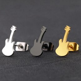 Discount small musical instruments Rock Mini Guitar Earrings Men Women Stainless Steel Small Black Fashion Musical Instruments Jewelry Ear Stud
