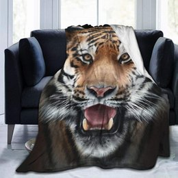 "tiger beds UK - 3D Animals Tiger Throw Blanket Cozy Warm,Thick Velvet Blanket for Couch Bed Living Room L 80""X60"""