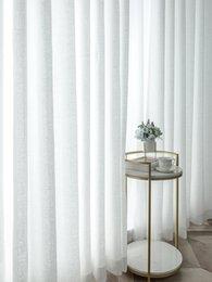 Опт Чистые шторы простые занавески балкона белая марлевая легкая передача и непроницаемость гостиной залив отсек