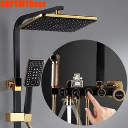 modern shower faucet sets NZ - Hot Cold Shower System Bathroom Wall Mount Square Head Shower Set SPA Rain Fall Modern Luxury Bath Faucet Full Kit Showers Tap