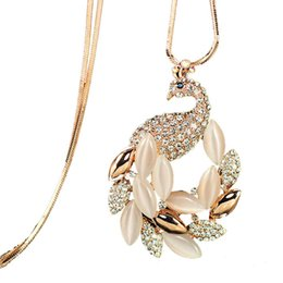 unique peacock NZ - Necklaces Arrival Joker Sweater Chain Cat's Eye Unique Elegant Pink Opal Peacock for Lady