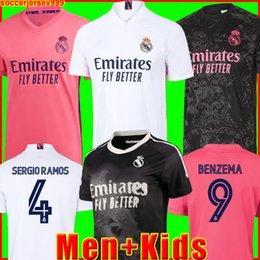 Großhandel REAL MADRID jerseys Trikots 20 21 Fußballtrikot HAZARD SERGIO RAMOS BENZEMA VINICIUS Camiseta Fußballtrikot Uniformen Männer + Kinder Kit Sets 2020 2021