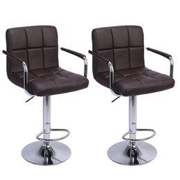 Опт Современные квадратные табуретки Высокие инструменты Тип 2 шт. PU Регулируемый стул с подлокотниками спинки дизайн столовая кухня столовая кухонная стулья