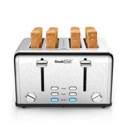Brotmacher Edelstahl Extra Wide Slot Toaster Mit Dual Control Paneel von Bagel / Abtau / Abbrechen Funktion, Silber Küche Essbar im Angebot