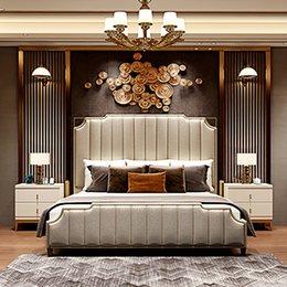 Wholesale Luxury Simple Beautiful Living room Bedroom Furniture Practicable Peculiar Metal Solid wood Square Nightstands or Home Hotel