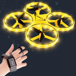 Wholesale Mini Watch RC Drone Sensing Gesture infrared Induction Quadcopter Intelligent Remote Control LED ufo Helicopter dron Kids Toys 210325