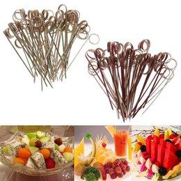 100 stücke Finger Einweg-Bambus Frucht Dessert Picks Gabel Zeichen Cocktail Sticks Zahnstocher Hochzeit Getränk Decor G6DA Gabeln im Angebot