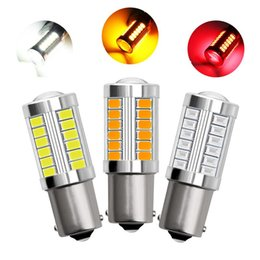 Emergency Lights 2Pcs 1156 Led Bulb BA15S P21W 33 5630 5730 SMD Car Tail Brake Auto Reverse Lamp Red White Yellow Color on Sale