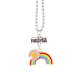 necklaces best friend forever 2021 - Fashion Daisy Rainbow Necklace Enamel Rainbow Cartoon Kids Best Friends Forever Pendant Necklace Jewelry