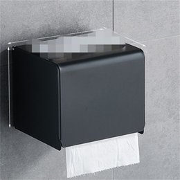 Wholesale Black Paper Tissue Box Bathroom Paper Roll Holder Wall Mounted Toilet Paper Holder Rack Bathroom Accessories Tissue Holder Box 376 R2