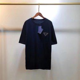 Toptan satış Erkek Kadın T Shirt Mektubu Tunçu ile Yaz Nefes Tees Dış Giyim Unisex Tops Katı Renkler Tişörtleri Klasik Kısa Kollu S-2XL