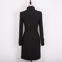 woolen coat women high collar 2021 - Single-breasted Heavy High Craft Collar Women's Woolen Coat Jacket 2021 Clothing Winter Fashion XL Wool & Blends