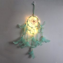 LED Light Dream Catcher Two Rings Feather Dreamcatcher Wind Chime Decorative Wall Hanging Multicolor 12ms J2 on Sale