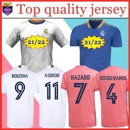 Podscal Real Madrid Jerseys 21 22 Camisa de Futebol de Futebol Haaland Sergio Ramos Benzema Camiseta Men + Kid Kit 2020 2021 em Promoção