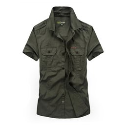 Wholesale jeep clothing for sale - Group buy Men Shirts Plus Size M xl Summer Fashion Trend Casual Short Sleeve Tops Man Cotton Afs Jeep Khaki Shirt Army Green Clothing