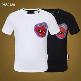 PP Men's T-shirt Summer rhinestone Short Sleeve Round Neck shirt tee Skulls Print Tops Streetwear M-xxxL 88218