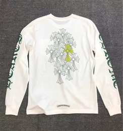 fluorescent t shirts men UK - chromeheart heart letter flower arm fluorescent green cross group print men's and women's long sleeve T-shirt fashion