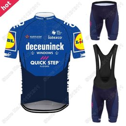 Wholesale Racing Sets Quick Step Cycling Jersey Set Blue Wolf Hair Clothing Road Bike Suit Bicycle Shorts Ropa Ciclismo Maillot Cyclisme