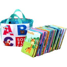 Wholesale Baby Fun English Alphabet Card Cloth Book Environmental Protection Paper Cloth Book Cover Factory Direct Sales