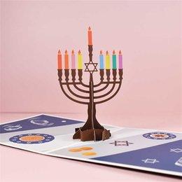 15*15cm Square Happy Hanukkah 3D Menorah Cards Celebrating Chanukah Greeting Note Card Jewish Festival of Light Gift Foldable Candle Holder Party Ornament L805VT on Sale
