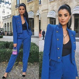 Wholesale custom tuxedo women resale online - 2 Pieces Blue Women Ladies Custom Business Office Tuxedos Mother of the Bride Suits Female Formal Evening Wedding Blazer