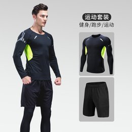 Wholesale cycling shops resale online - Tracksuits Muscle strength vest fitness short sleeve men s elastic running suit online shop