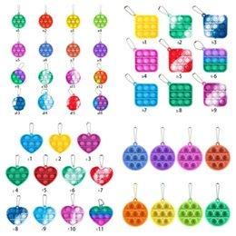 Wholesale Fidget Simple Keychain Push Bubble Pop Fidget Toys key chain Anti Stress Decompression Bubble Board Key Ring Finger Toy H38NTD8