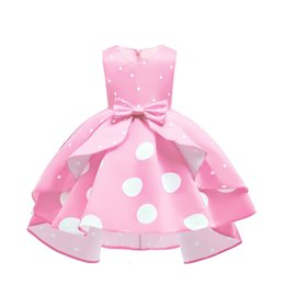puffy baby girl dresses UK - Baby Girls Dot Puffy Princess Dress for Party with blow In six Color for2-12 Years Old