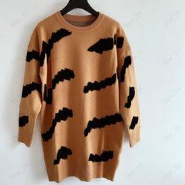 Dames Sweaters Casual Knit Jurk Contrast Kleur Lange Mouw Herfst Fashion Wear Classic Letter Pattern