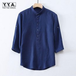 Wholesale linen shirts man for sale - Group buy Men s Casual Shirts Summer Linen Harajuku Mens Button Turn Down Collar Pullover Three Quarter Sleeve Solid Men Tops Fashion Man Shirt