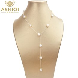 baroque pearl long necklace 2021 - ASHIQI Real 925 Sterling Silver Long Chain Necklace 8-9mm Natural Baroque Freahwater Pearl Jewelry for Women Ladies Gift 210323