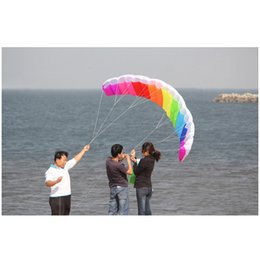 Wholesale 2M Power Dual Line Stunt Parafoil POWER Sport Kite Parachute Rainbow Nice Beach Kite with 2pcs 30m High Quality Nylon Flying Lines