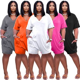 Plus size Jumpsuits Women Rompers S-3XL one piece shorts playsuit summer clothing loose overalls V-neck onesies printed siamese trousers 5 colors leisure wear 4665 on Sale